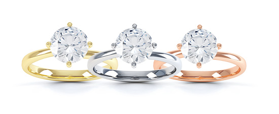 Different coloured engagement rings