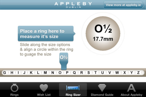 Appleby App ring sizer