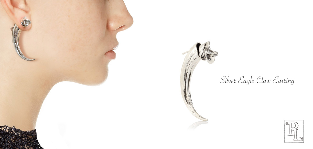 silver eagle claw earring