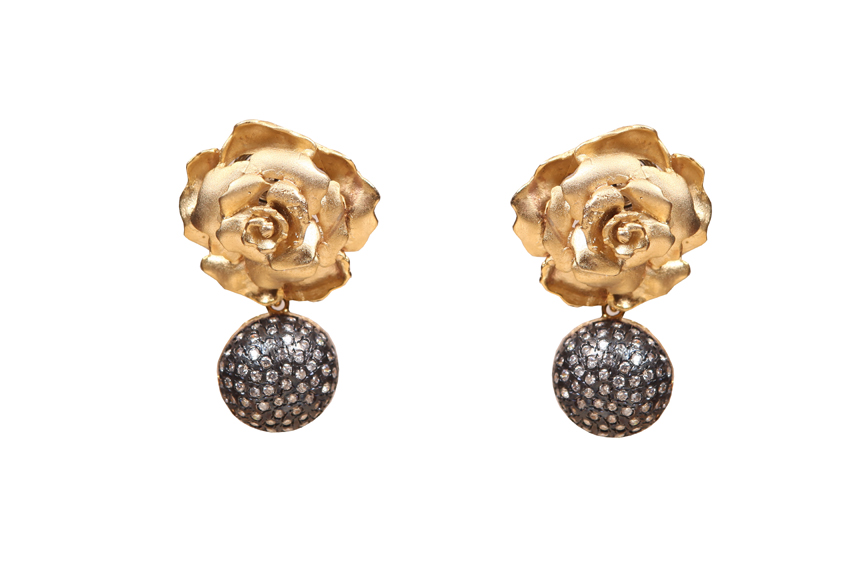 silver based flower earrings with crystal balls