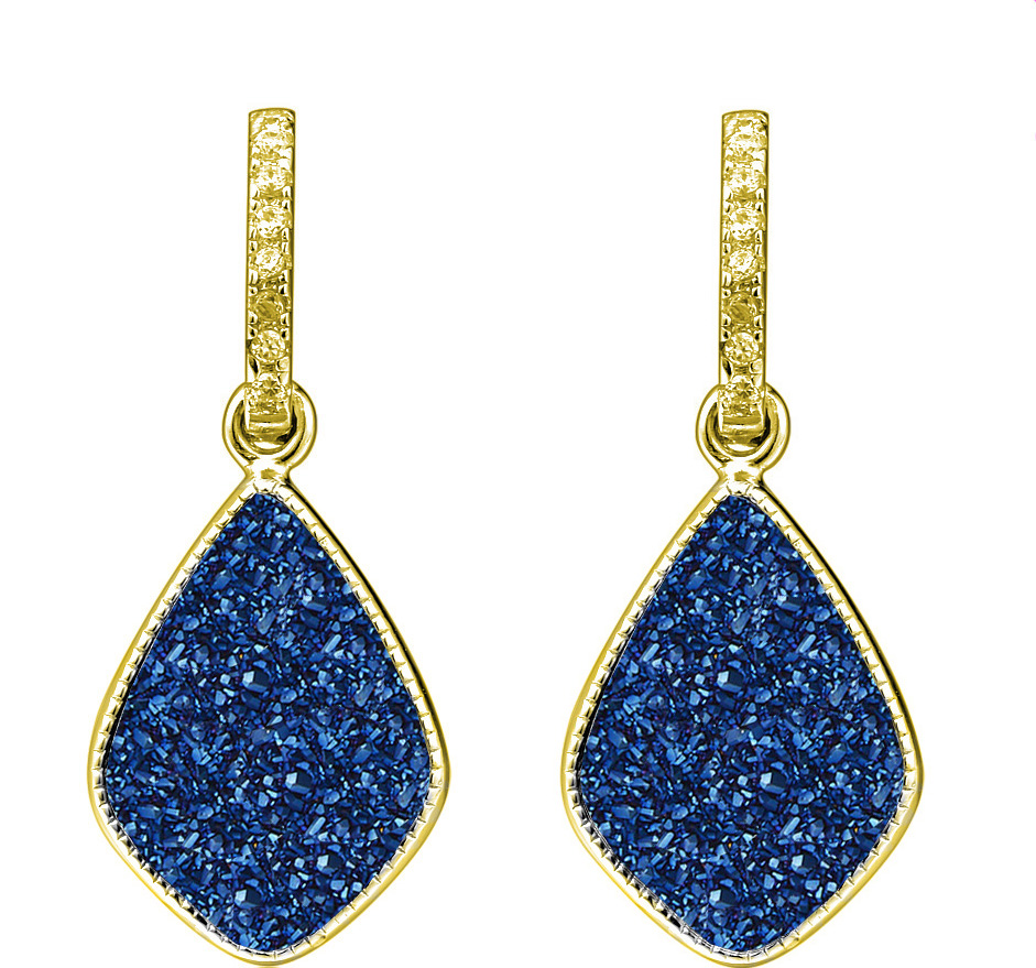 Blu druzy Star Earrings gold