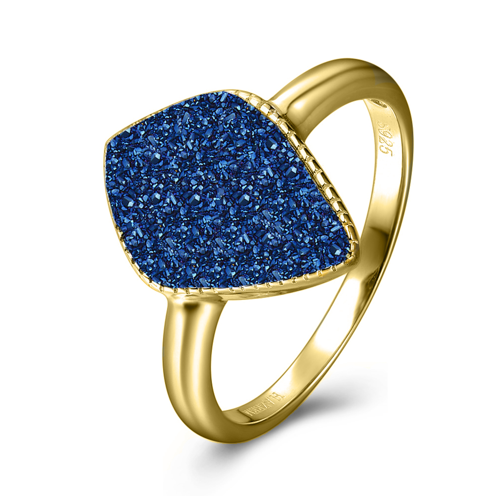 Blue druzy gold ring