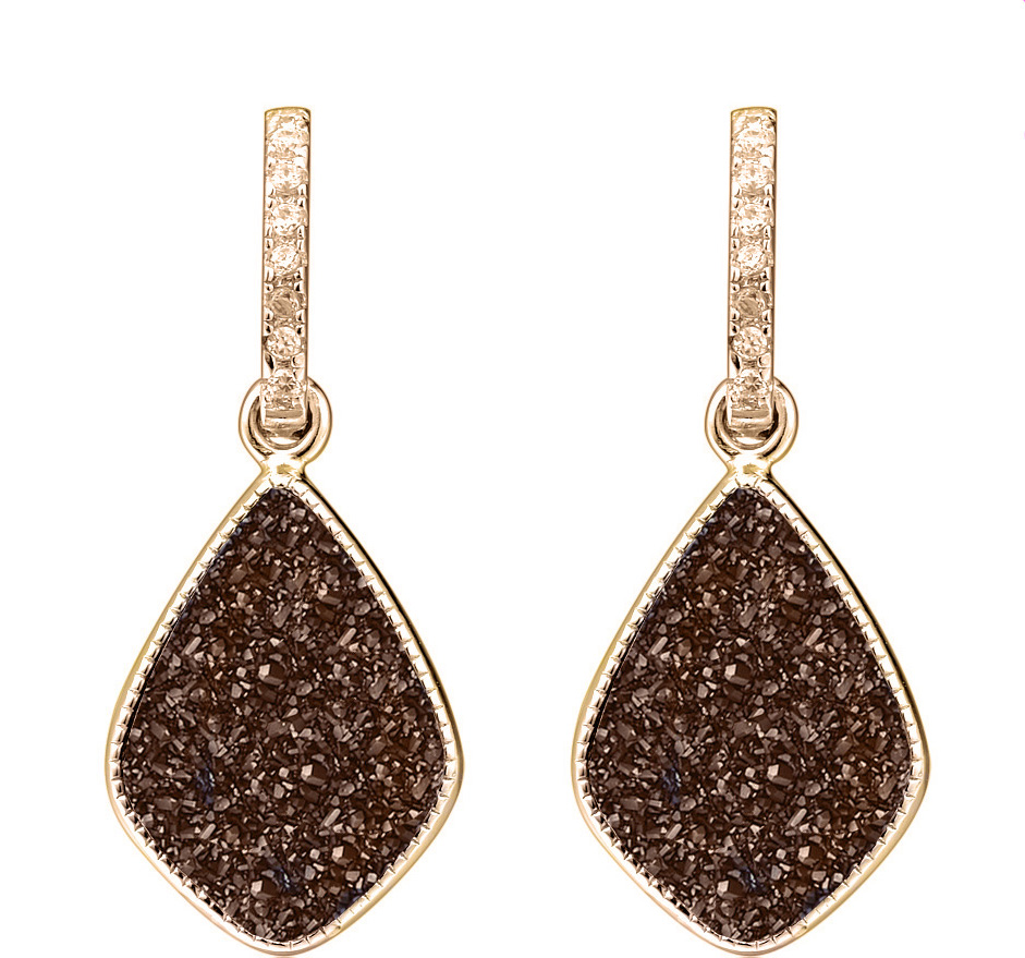 coffe druzy rose gold star earrings