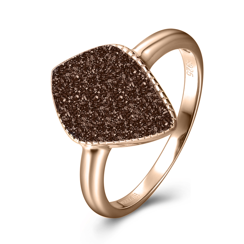 coffee drusy rose gold ring