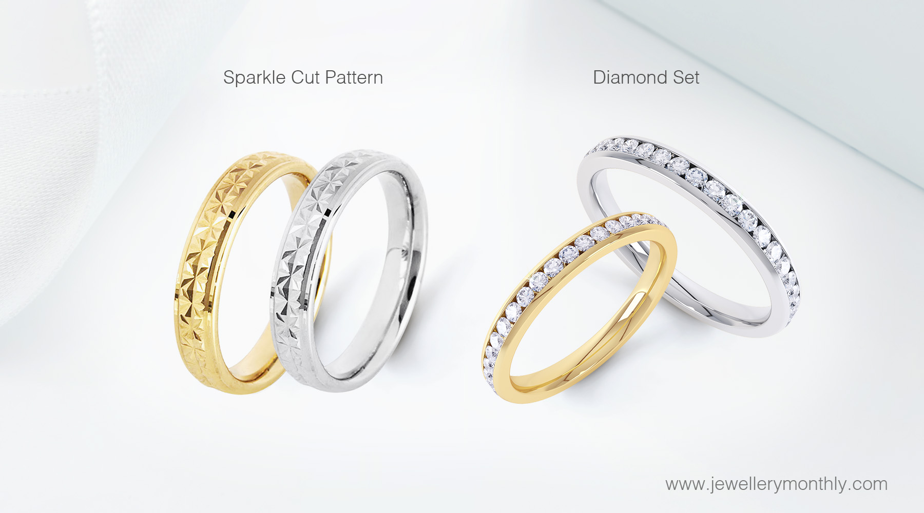 diamond cut patterns and diamond set wedding rings