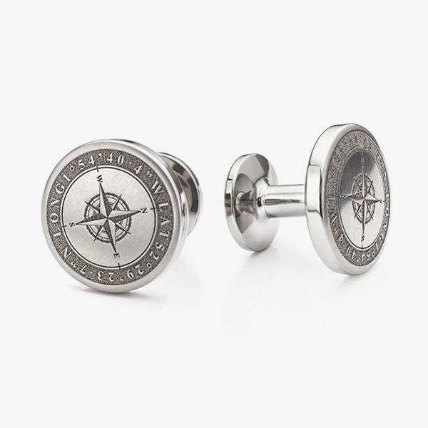 compass engraved cufflinks