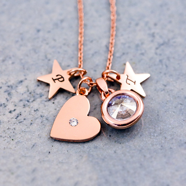 Rose Gold Personalised Heart Necklace
