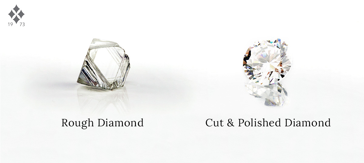 Rough diamond vs polished diamond