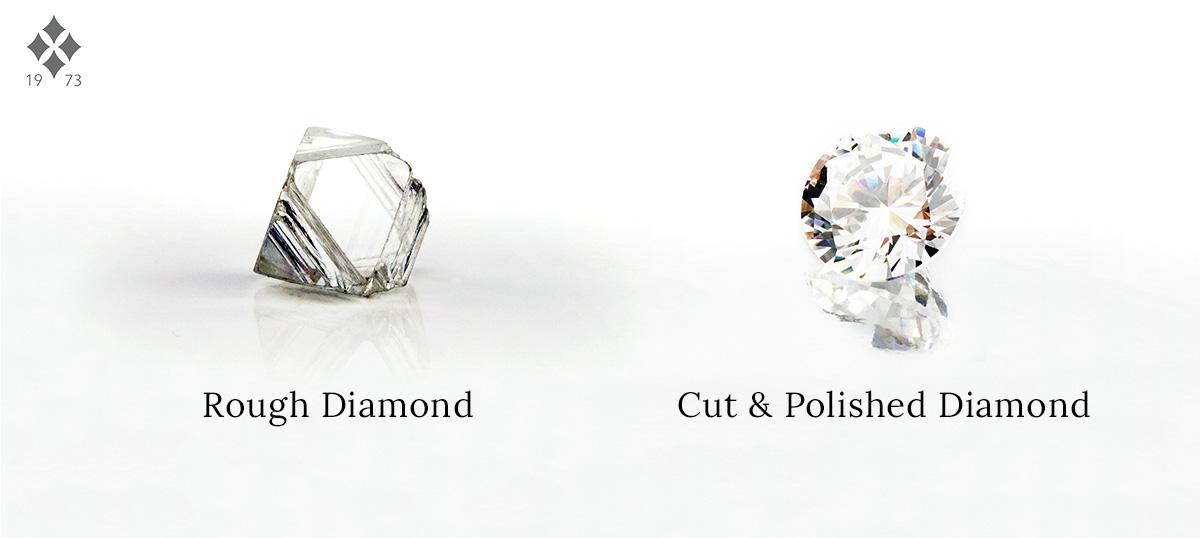Rough diamond vs polished diamond