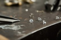 Luxury diamonds on table with tools