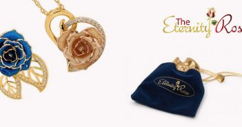 Eternity rose gold and blue necklaces with pouch