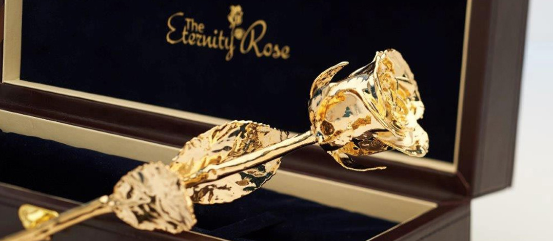 gold eternity rose in box