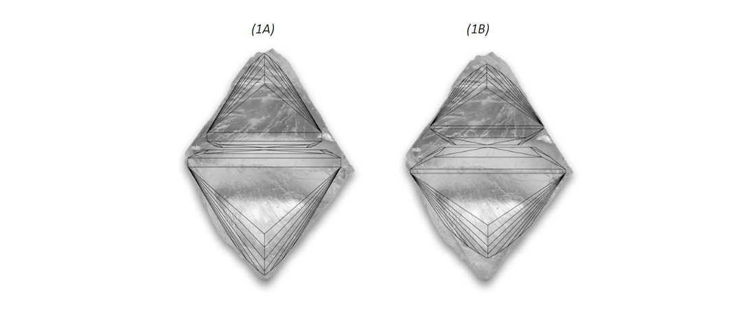 Two types of princess cuts shown in rough diamond