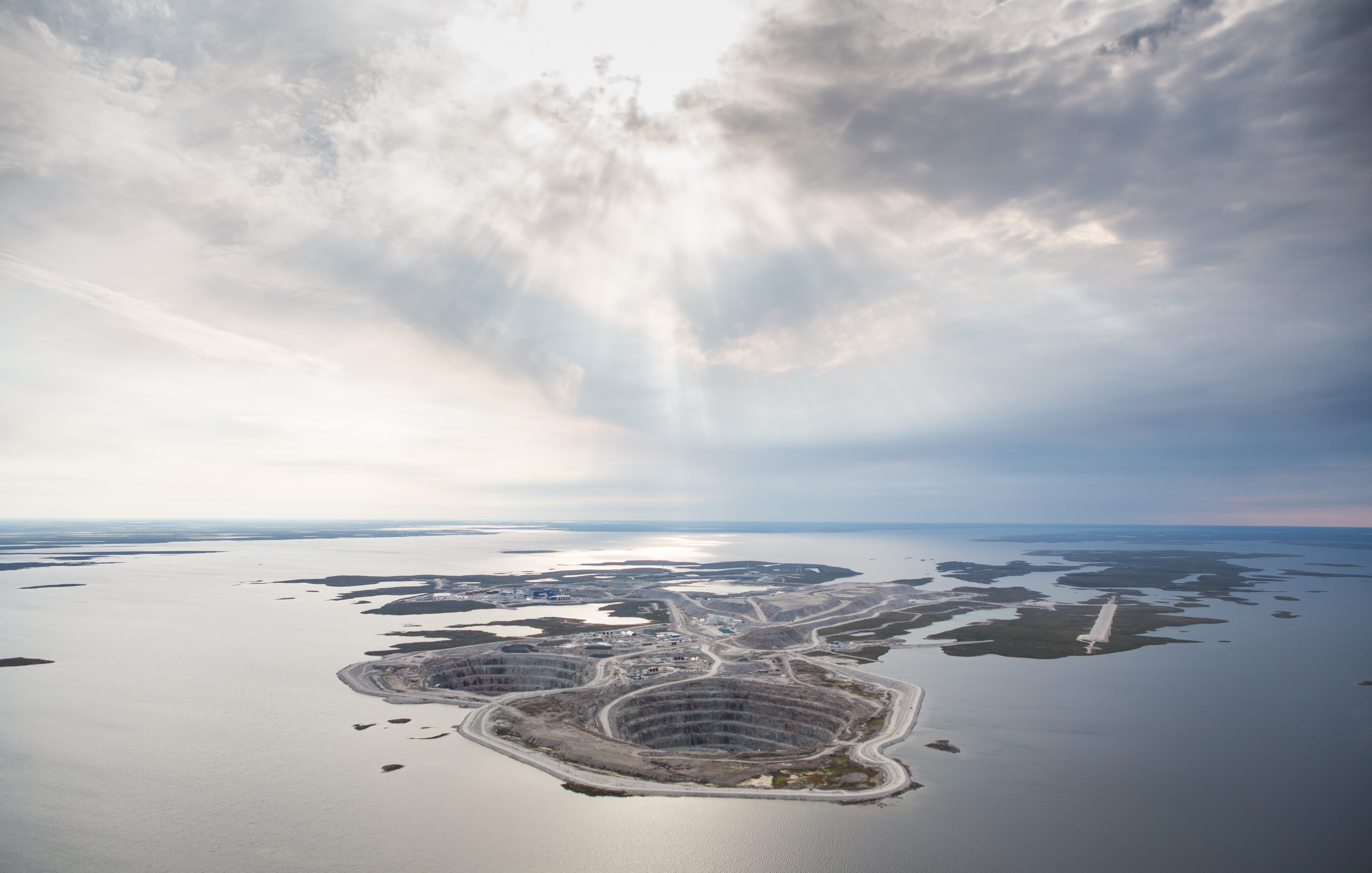 Aerial view of the Diavik diamond mine in the remote North West region of Canada.