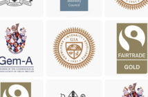 Logos of influential jewellery organisations teselated including: GIA, Fairtrade Gold, Gem-A and the responsible jewellery council