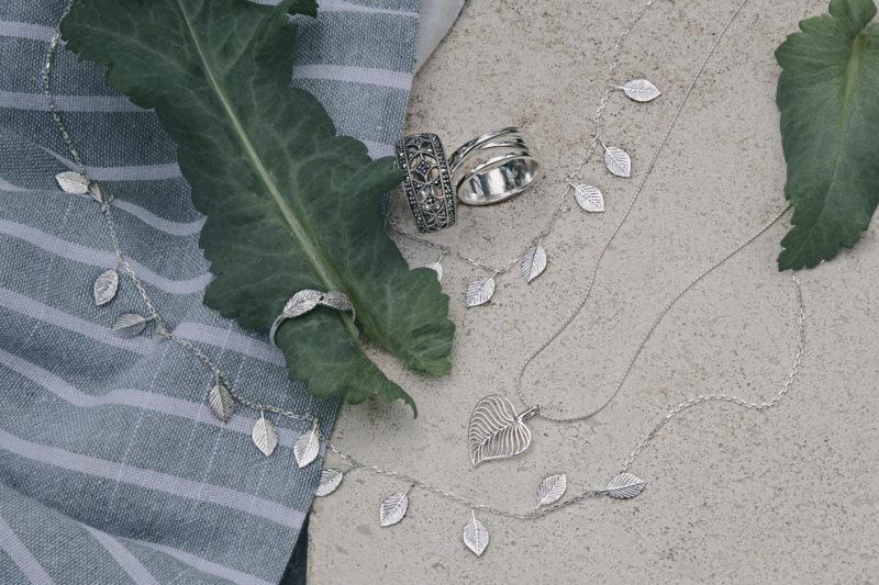 Joshua James leaves jewellery on leaves